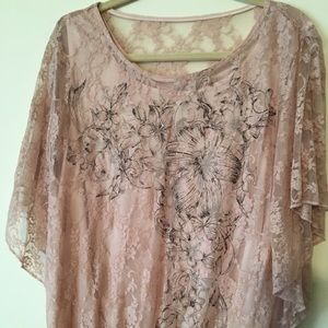 Style-Midnight Velvet Pale Pink Lace Overlay Top